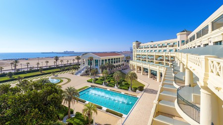 Hotel Las Arenas Balneario Resort has a giant outdoor pool and is just next to the sandy Cabanyal beach