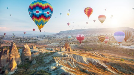 Hot air balloon trips make a romantic and popular way to experience Cappadocia's breathtaking landscape