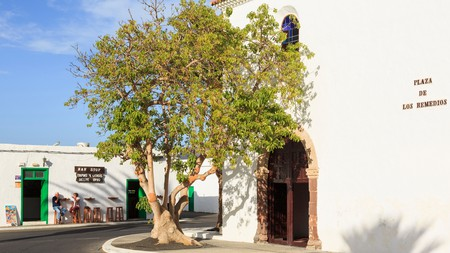 Bar Stop in Yaiza, Lanzarote, sits next to a 17th-century church