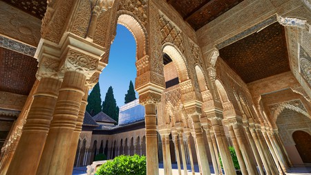 Granada is known for having stunning Moorish architecture, as seen in the Patio de los Leones or Court of the Lions