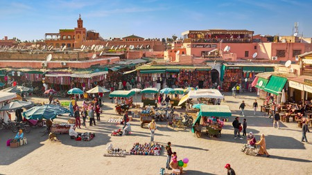 Jemaa el Fna is famous for its souks, snake charmers and street food
