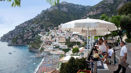 Street cafes with outstanding views like these are the norm in the village of Positano on the Amalfi Coast