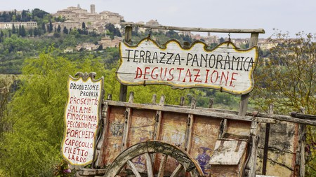 A hilltop town, the views from Montepulciano are best enjoyed at one of the town's many terrace bars