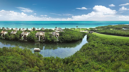 The Fairmont Mayakoba in Playa del Carmen is surrounded by lush nature