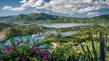 Lush greenery surrounds English Harbour and Nelson's Dockyard in Antigua