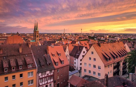 Settle into one of the many historic boutique hotels Nuremberg has to offer as the sun sets over the city