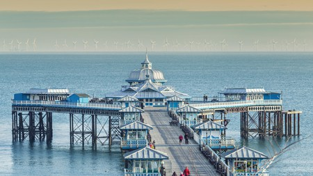 The Victorian-style pier is one of the main landmarks and most popular attractions in the coastal town of Llandudno, North Wales