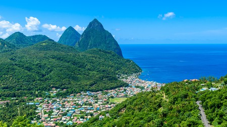 Gros and Petit Pitons near the village of Soufriere on St Lucia