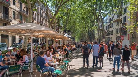 Outdoor bar on Rambla dels Caputxins, Barcelona, Spain.