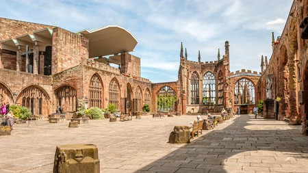 The Ruins of Coventry Cathedral – also known as St Michael's Cathedral – provide a backdrop to open-air events and occasional film recordings