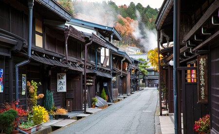 Edo-era merchants' houses line the narrow streets of the Sanmachi Suji historic district in Takayama