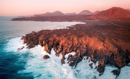 Los Hervideros are lava cliffs on Lanzarote, Canary Islands