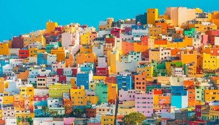 The bright houses of Las Palmas, Gran Canaria, make a colourful spectacle