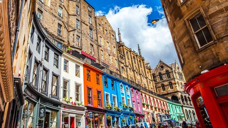 The colourful Victoria Street can't be missed on a wander through Edinburgh