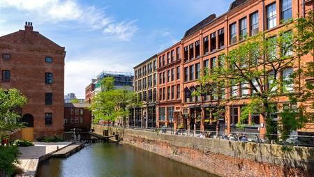 The Rochdale Canal runs through Manchester, England