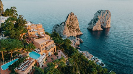 Hotel Punta Tragara is perched high above the sea, overlooking the Faraglioni rock formations