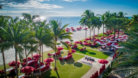 At the Acqualina Resort in Miami, you can enjoy the Florida sun on the beach