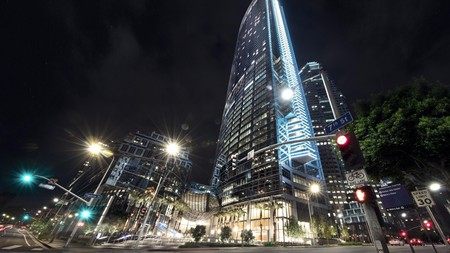 The InterContinental Los Angeles Downtown reaches high into the sky