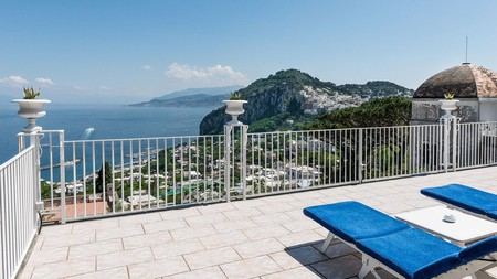 From the terrace at Villa Quattro Venti on Capri, you get to take in views of verdant cliffs and the Mediterranean Sea