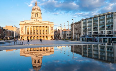 The Nottingham Council House overlooks the Old Market Square