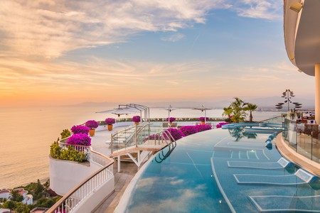 The pool at the Grand Miramar in Puerto Vallarta offers stunning views over Banderas Bay