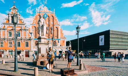 If you're lucky, you'll get to see musicians perform on the Town Hall Square in Riga, Latvia