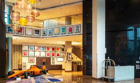 Sports memorabilia adorns the lobby at the Hilton near Wembley Stadium