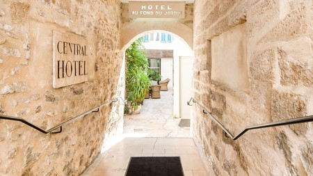 Hotel Central Avignon offers a calm inner courtyard that acts as an oasis from the city heat