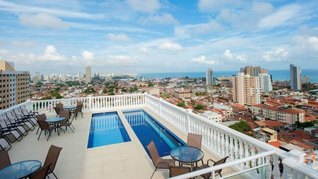 From the rooftop pool at Hotel da Villa, you get to enjoy city views over Fortaleza