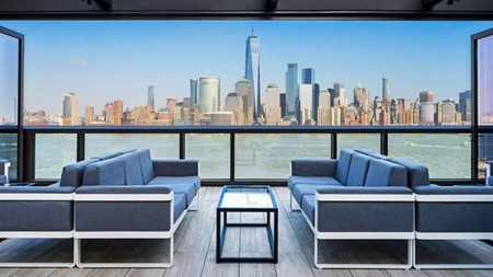 You'll get stunning views of the Manhattan skyline at some of these properties near the Statue of Liberty
