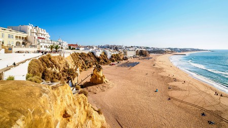 Peneco Beach in Albufeira, Portugal, beckons with golden sands