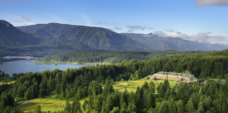 Skamania Lodge sits perched amid the lush greenery of Oregon's wilderness