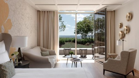 Enjoy a view of the vineyards from your stylish suite at the Royal Champagne Hotel and Spa