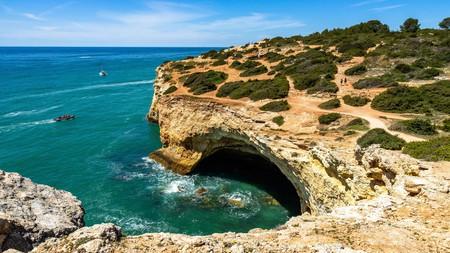 The cave of Algar de Benagil, a popular spot for a day trip not far from Praia da Rocha