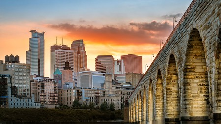 After a busy day at Valleyfair, chill out and watch the sun set over the Minneapolis skyline