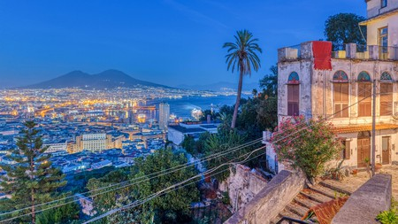 The views down from the Vomero district frame night-time Naples perfectly