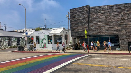 The first rainbow crosswalk in the City of Los Angeles spans Abbot Kinney Boulevard