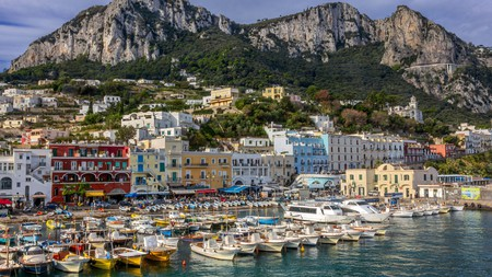 The colourful port of Capri is a welcoming sight for visitors