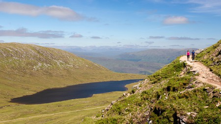 Hike along a trail like this on Ben Nevis in the heart of the Scottish Highlands