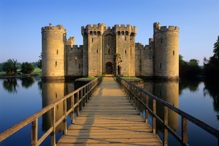 The 14th-century moated Bodiam Castle sits in East Sussex