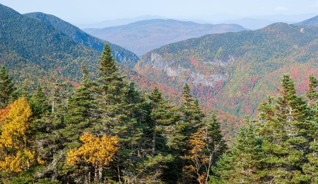 The views from Smugglers' Notch pass near Stowe Mountain are especially beautiful when the leaves change color