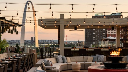 Soak up city views at sunset from the rooftop bar of the Four Seasons St Louis on your next trip to Missouri