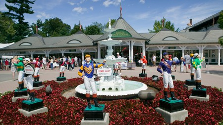 The jockey statues outside the Saratoga Race Course immerse you in racing history before you even enter