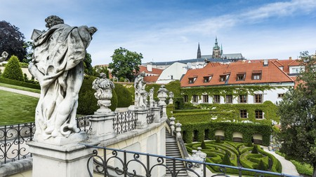 The music-themed Aria Hotel has a rooftop terrace with views over Prague Old Town