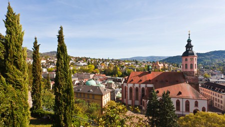 The evergreen carpet of the Black Forest creeps to Baden-Baden's doorstep