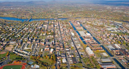 Holyoke sits along the western bank of the Connecticut River