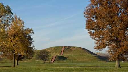 Visit Cahokia Mounds State Historic Site to marvel at the largest man-made mound in the country