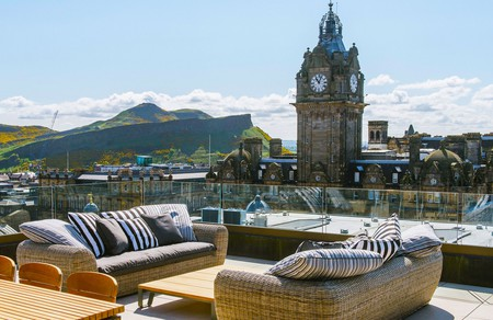 Take in the stunning city view from your own romantic rooftop terrace in Edinburgh