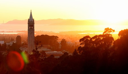 The Sather Tower stands tall on the University of California, Berkeley campus