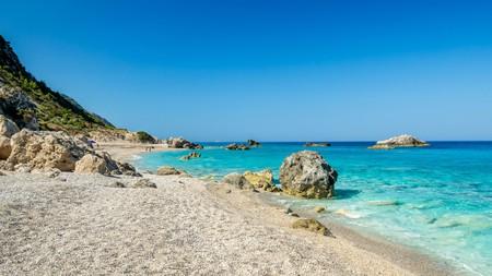 Kathisma Beach, near Agios Nikitas in the north of the island, is a long, sandy stunner
